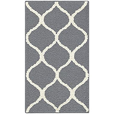 Maples Rugs Kitchen Rug - Rebecca 1'8 x 2'10 Non Skid Small Accent Throw Rugs [Made in USA] for Entryway and Bedroom, Grey/White