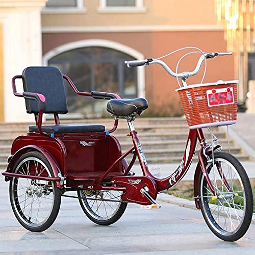 Triciclo para adultos bicicleta Triciclo Adulto De 20 Pulgadas Con Asiento De Respaldo Y Cesta De Compras Tres Ruedas Crucero Bicicleta Para Personas Mayores, Mujeres, Hombres, Carga 240kg(Color:rojo)