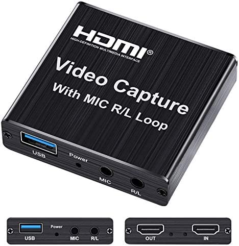 Capture Card 4K HDMI Game Video Capture Card with USB 2 0 Microphone HDMI Loop Out Live Streaming product image