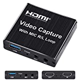 Capture Card, 4K HDMI Game Video Capture Card with USB 2.0 & Microphone HDMI Loop-Out Live Streaming Gaming Recorder for Nintendo Switch, PS4, Camera, PC