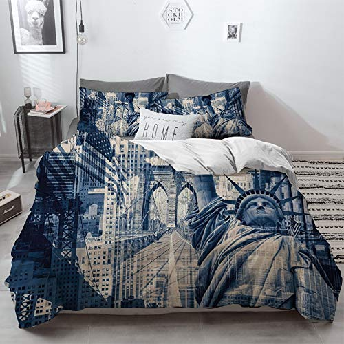 3 Piece Duvet Cover Set No Wrinkle Ultra Soft Bedding Set,United States,Double Exposure Image of Statue of Liberty with New York Buildings,Dark B,2 pillowcase 50 x 75cm 1 Pc Bed sheet 230 x 220cm