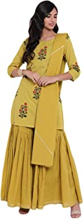 Divena lemon yellow cotton sharara Readymade Suits For Women
