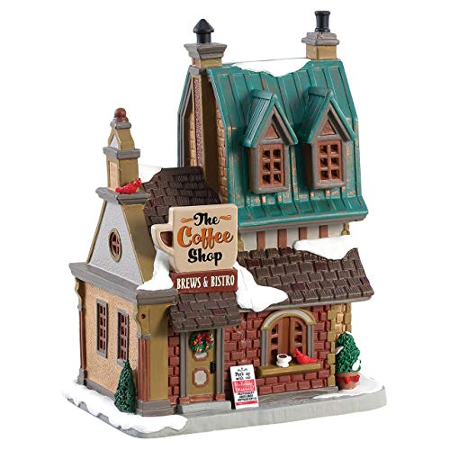 """Lemax 85380 The Coffee Shop, Caddington Village Collection, Porcelain Colorful Decorated Miniature Lighted Building, X'mas Decor/Gift/Collectible, On/Off Switch, 7.87"""" x 5.83"""" x 4.41"""""""
