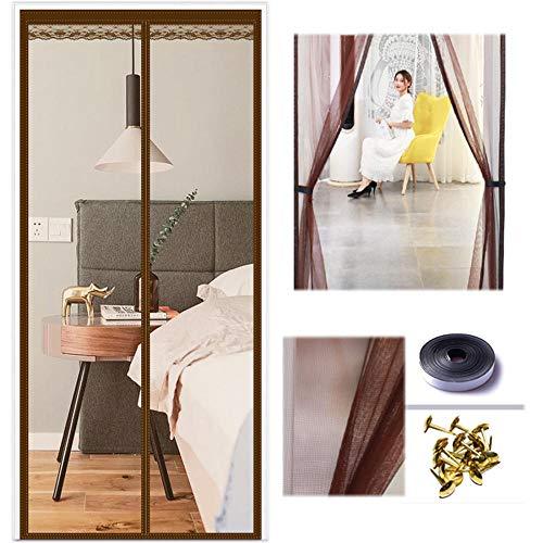 Xervg Insektenschutz Magnetfreier Stanztürvorhang für den Haushalt gegen Mücken-120 * 210 cm_braun