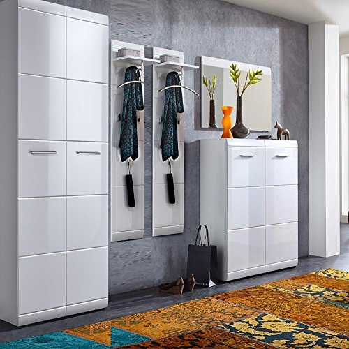 Lomadox Komplett Garderoben Set ● 5-teilige Flurgarderobe Flurmöbel in Hochglanz weiß ● Schuhschrank, Spiegel, Paneele, Kleiderschrank ● Made in Germany