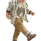De feuilles Chic-Chic Ensemble Garçon Bébé 3pc Combinaison Chemise Carreau + T-Shirt + Pantalons Casual Pull Longues Manches Haut Kaki 3-4ans