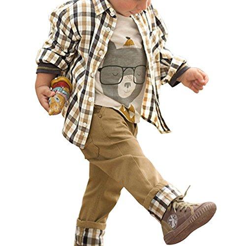De feuilles Chic-Chic Ensemble Garçon Bébé 3pc Combinaison Chemise Carreau + T-Shirt + Pantalons Casual Pull Longues Manches Haut (18-24mois, Kaki)