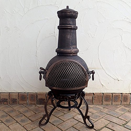 Medium Cast Iron Garden Chiminea. Toledo design in Bronze with BBQ Grill
