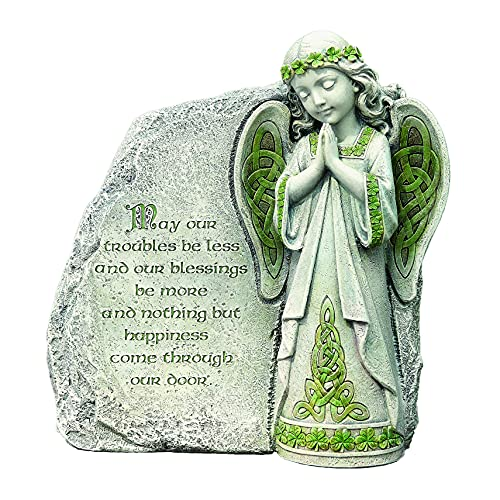 Roman Joseph's Studio Irish Angel Garden Stone, 9.75' H, Made from Resin, High Level of Craftsmanship and Attention to Detail, Durable and Long Lasting