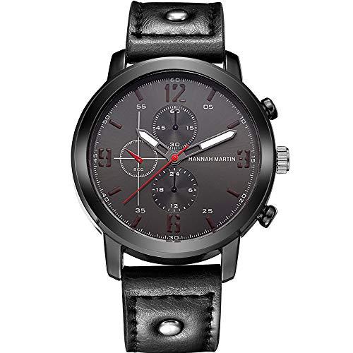 Lazzgirl Armbanduhr aus Quarz-Armbanduhr im Retro-Design-Lederarmband(Schwarz Braun,One Size) (U-Schwarz)