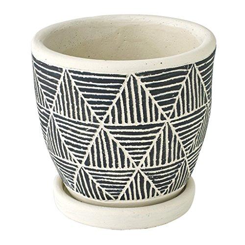 SPICE OF LIFE(スパイス) 植木鉢 レリーフ プランター トライアングル ブラック 直径12.5×12cm セメント 底穴あり 皿付き CCGH1830BK