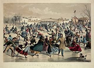 Posterazzi GLP469052LARGE Poster Print Collection Central-Park Winter - The Skating Pond New York 1862 Poster Print By Currier And Ives, (18 X 24