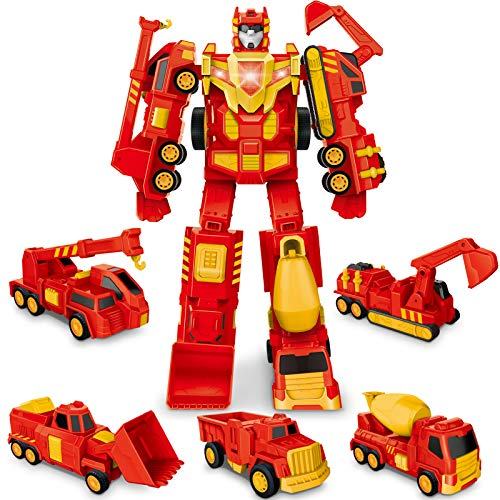 HIRIFULL Five Construction Vehicle Truck Toys Transform into Robot Action Figures for Kids, Magnetic Assembled, Pull Back Car, Birthday Gift for 3 4 5 6 7 8 Boys and Girls