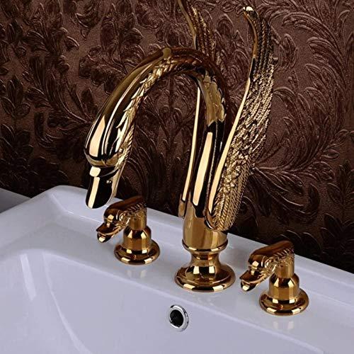 Lavabo de oro de tres piezas de gama alta con grifo de latón, grifo de lujo retro de estilo europeo, grifo de lavabo de baño en cascada de color dorado con montaje en cubierta antiguo, grifo mezclador
