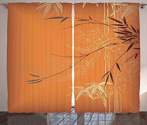 Lunarable Bambus-Vorhänge, Bambus-Zweige, Blumen-Illustration in lebendigen Farben, östliche Natur, Wohnzimmer, Schlafzimmer, Fenstervorhänge, 2-teiliges Set, 274 x 274 cm, Orange Gelb Braun
