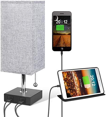 MYYYYI nachtkastje bureaulamp met 2 USB-opladers, minimalistische vierkante bedlamp met zwarte sokkel en stoffen kap, perfect voor slaapkamer/nachtkastje/woonkamer/kantoor