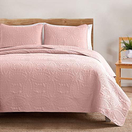 VEEYOO - Juego de edredones ligeros de 3 piezas, Colcha de microfibra transpirable para cama de matrimonio., Rosa - Borde recto., Double (230x250cm / 92x100')