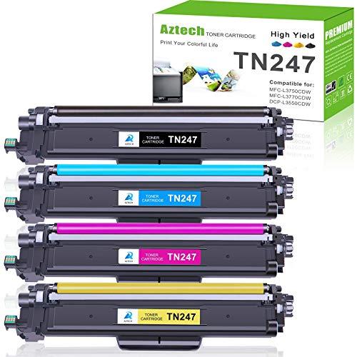 Aztech Compatibile per Brother TN247 TN-247 TN243 TN-243 Toner per Brother DCP-L3550CDW MFC-L3750CDW MFC-L3770CDW MFC-L3730CDN HL-L3210CW HL-L3230CDW HL-L3270CDW DCP-L3510CDW MFC-L3710CW