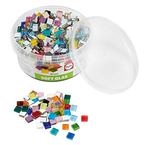 Rayher 14794999 Assortiment de pierres de mosaïque, multicolore, verre souple, transparent, brillant,carrées...