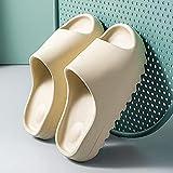 ShSnnwrl Zapatillas de tacón para Hombre, 4 cm, Suela Dentada Inferior Gruesa, Antideslizante, toboganes Masculinos, Zapatillas de Plataforma para Parejas Interiores, 40-41 Beige