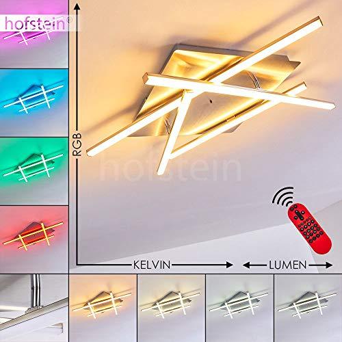 LED Deckenleuchte Eriz, dimmbare Deckenlampe aus Metall in Nickel-matt, 30 Watt (insgesamt), 1200 Lumen (insgesamt), Lichtfarbe 2700-5000 Kelvin, RGB Farbwechsler u. Fernbedienung