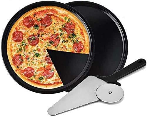 Pala Per Pizza Set, 2 teglie per Pizza antiaderenti, teglia per Pizza Forata Circolare Antiaderente,spatola per Pizza, per cuocere Pizza e Torte su Forno e Grill