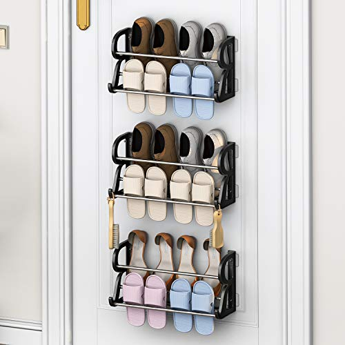Over the Door Shoe Rack, DUSASA 3-Pack Shoe Rack Organizer Over the Door Hanging Stainless Steel Shoe Shelf with Hooks for Closet, Entryway-No Drilling