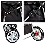 Display4top Pet Travel Stroller Dog Cat Pushchair Pram Jogger Buggy With 4 Wheels (Black) 12