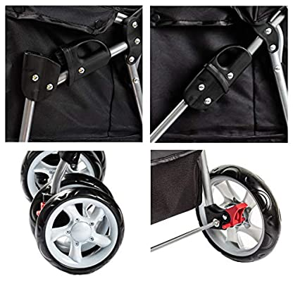 Display4top Pet Travel Stroller Dog Cat Pushchair Pram Jogger Buggy With 4 Wheels (Black) 4