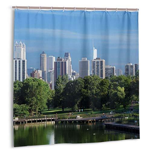 N/A Duschvorhang mit Haken, wasserdicht, schimmelresistent, antibakteriell, 12 Haken, 183 x 183 cm (USA Skyscrapers Chicago)