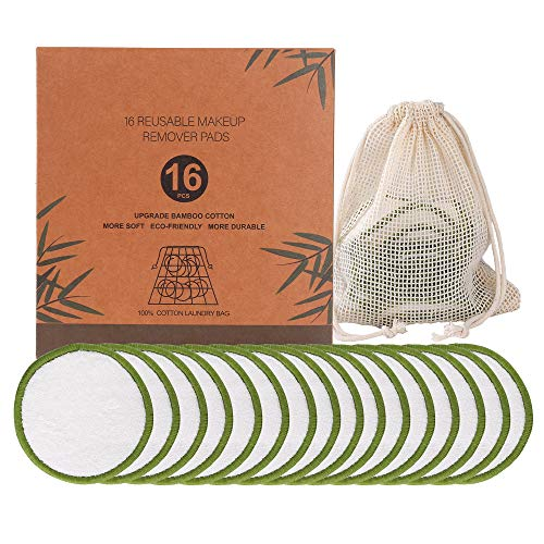Coton Démaquillant Lavable Tampons Démaquillants Bio en Bambou Réutilisables avec Sac à Linge pour Tous Les Types de Peau 16 Pièces
