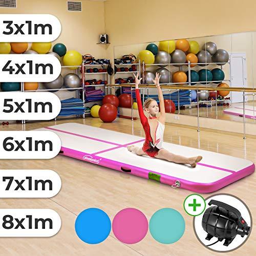 Physionics Track - aufblasbar, mit elektrischer Luftpumpe, PVC, Air, Farbwahl, Größenwahl: 3 4 5 6 7 8 m - Gymnastikmatte, Tumbling Matte, Trainingsmatte, Fitnessmatte (Pink, 400x100x10 cm)