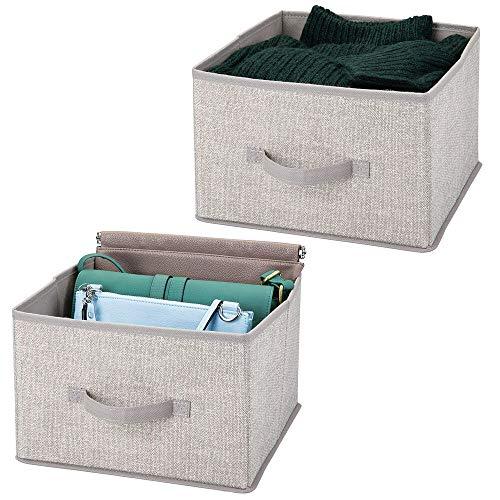 mDesign Juego de 2 organizadores para armarios de tela – Cajas de tela para ordenar armarios – Cajas organizadoras para ropa, mantas y otros accesorios – gris claro