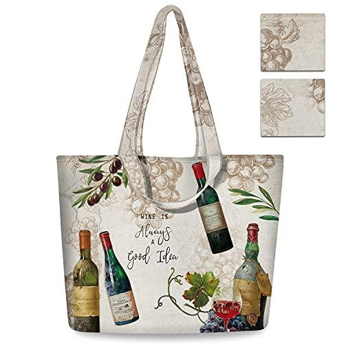 NymphFable 2 Pcs Tote Bag Reutilizables Botella de Vino Bolsas para Comestibles Plegable Poliéster Bolsa Compra