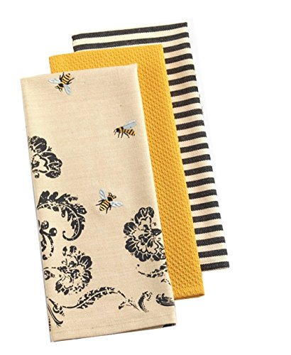 Design Import India, Dishtowel Busy Bee Printed, 3 Count
