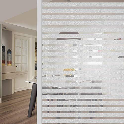 RMane Fensterfolie Milchglas Selbsthaftend Blickdicht Sichtschutzfolie Elektrostatische Statische FensterfolienAnti-UV für Zuhause Badzimmer oder Büro (Streifen, 45 X 200 cm)