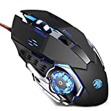 TENMOS K96 Wired Computer Gaming Mouse USB Optical LED Silent Mouse Compatible with Notebook/PC/Laptop (Black)