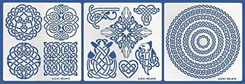 Aleks Melnyk #39 Metal Journal Stencils/Celtic Knot, Round and Dragon/Stainless Steel Irish Stencils Kit 3 PCS/Templates Tool for Wood Burning, Engraving/Scandinavian, Viking Symbols/Crafting/DIY