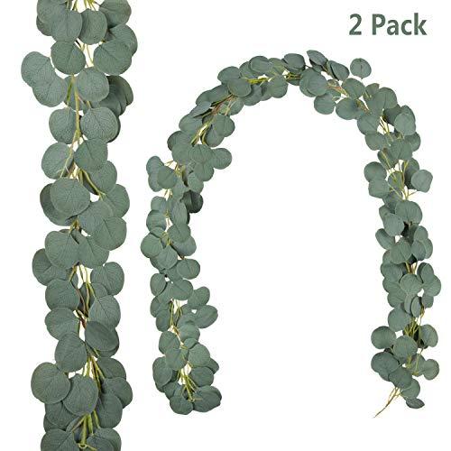 Artificial Eucalyptus Garland, 2pcs Faux Silver Dollar Garland Silk Eucalyptus Garland Greenery Artificial Vines for Wedding Backdrop Arch Wall Decor