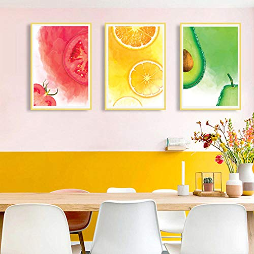 pktmbttoveuhgf Modern Watercolor Fruit Prints Art Canvas Paintings Red Tomato Orange Green Kiwi Posters Wall Picture for Kitchen Home Decor