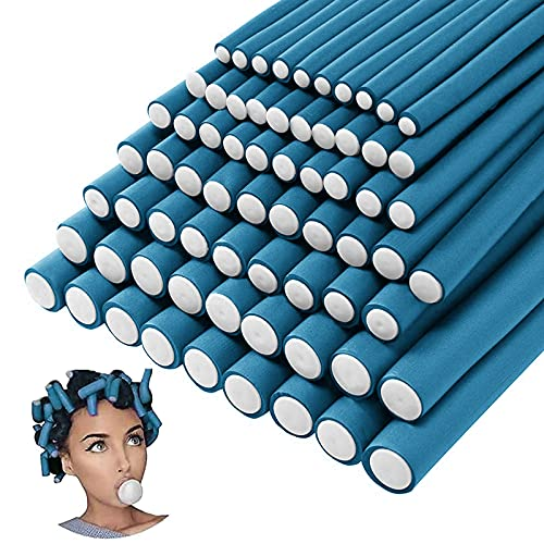 70PCS Flexible Curling Rods Hair Curlers Twist Foam Hair Rollers Soft Foam Flexi Rods Hair Curlers for Long Short Hair No Heat Flexi-Rods Hair Curler for Women Girls Curly Hair (Blue,7 Size)
