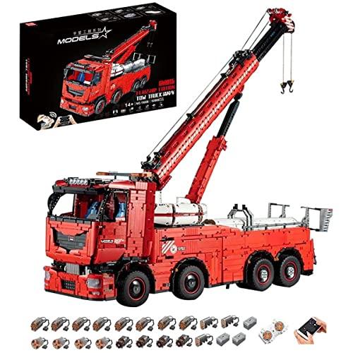 Technik Kran LKW 19008, Technik Pneumatik LKW Ferngesteuert, 10966 Teile Technic Kranwagen Motorisierte Modell mit 19 Motoren, Custom Bausteine Kompatibel mit Lego Technik