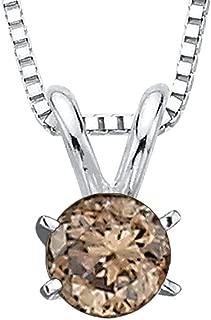 14K White Gold Brown (I1) Round Brilliant Cut Diamond Solitaire Pendant (1/10 cttw)