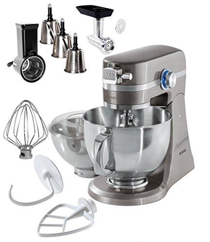 AEG Küchenmaschine UltraMix KM 4700 inkl. EXTRA Zubehör / 10 Geschwindigkeitsstufen / 1000 Watt / LED-Licht / Voll-Metall Gehäuse / Fleischwolf, Hobel und Reibe / 4,8 + 2,9 Liter Edelstahl-Rührschüsseln / inkl. umfangreiches Zubehör / Silber Beige Metallic