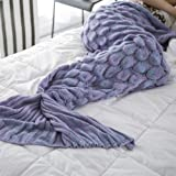 XILIUHU Herbst Winter Decke Stricken Fish Tail Mermaid Decke Schlafsofa Tv Häkeln werfen Schlafen Wickeln Tasche Kinder Erwachsene Decke, Farbe 1,90 X 195 cm