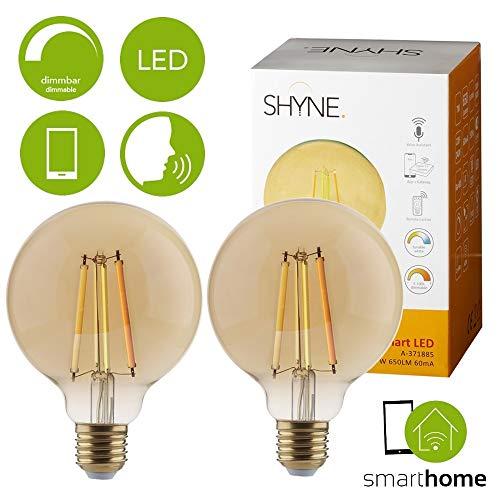 Shyne Smart Filament LED Leuchtmittel, Globe G80, E27, 7W, 2er Pack | Steuerung per Fernbedienung oder App auf Smartphone, Tablet | warmweiß kaltweißes Licht Wohnzimmer, Schlafzimmer Esszimmer