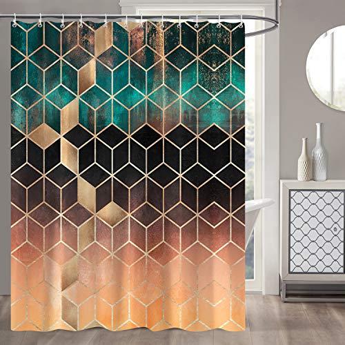 Bonhause Duschvorhang 180 x 180 cm Marmor Grüne Geometrische Duschvorhänge Anti-Schimmel Wasserdicht Polyester Stoff Waschbar Bad Vorhang für Badzimmer mit 12 Duschvorhangringen
