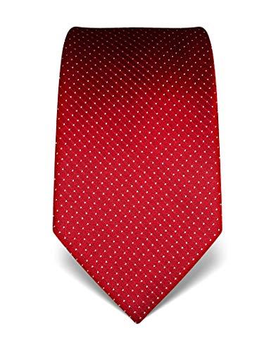 Vincenzo Boretti Herren Krawatte reine Seide gepunktet edel Männer-Design zum Hemd mit Anzug für Business Hochzeit 8 cm schmal/breit rot