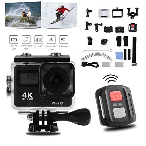 Diyeeni Action Cam 4K WiFi 12MP 30M Onderwatercamera 1080P Full HD anti-shake Sports Camcorder met 170 ° groothoek waterdichte fiets videocamera met afstandsbediening, accessoirekits