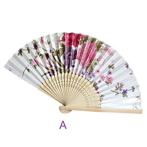 Abanicos Boda para Invitados Ventilador de Mano Plegable de bambú Vintage Regalos Chinos del Baile del Bolsillo del Ventilador de la Flor del Partido (1#)